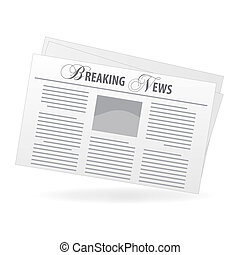 """Image of a newspaper with a """"Breaking News"""" headline isolated on a white background."""
