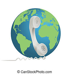 Image of a phone illustration with the earth isolated on a white background.