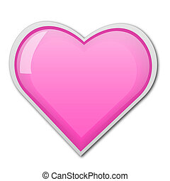 Image of a pink heart isolated on a white background.