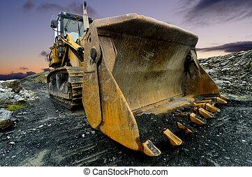 Image of a Quarry Shovel at sunset.