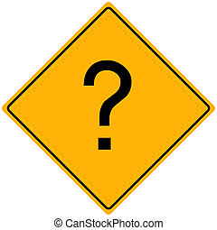 Image of a question mark on a yellow sign.