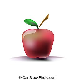 Image of a red apple on a white background with a shadow