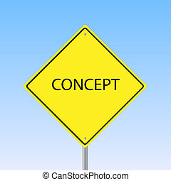 "Image of a road sign with the word ""Concept"" with a sky background."
