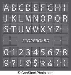 Image of a scoreboard with alphabet and numbers on a gray background.