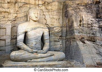 Gal Vihara, Polonnaruwa, Sri Lanka - Image of a seated ...