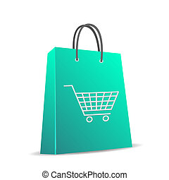 Image of a shopping bag with cart isolated on a white background.