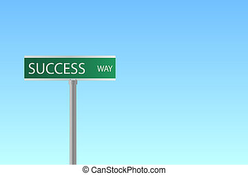 "Image of a street sign to ""Success Way"" with a blue sky background."