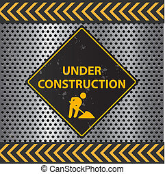 Image of a Under Construction sign with a metallic background texture.