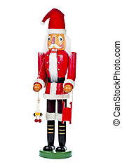 image of a wooden santa claus statue