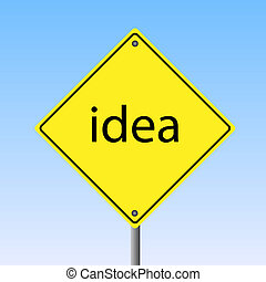 "Image of a yellow road sign with the word ""idea""."
