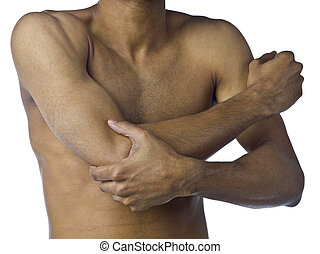 Image of a young man suffering on arm pain isolated on a white background