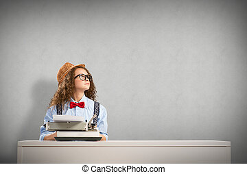 woman writer - image of a young woman writer at the table...
