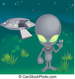 Image of alien and flying saucer - a little alien and his ...