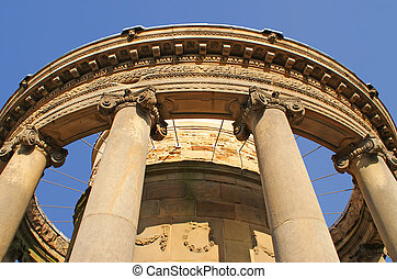 Image of an 18th Century Greek Temple Folly used a hunting lodge, UK