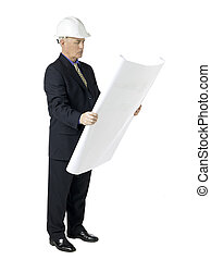 image of an architect with blue print paper