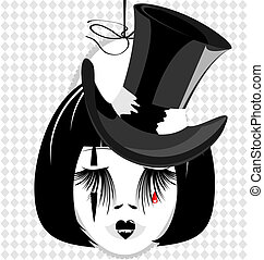 image of an dame in black hat - in an oval frame is outlines...