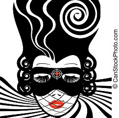image of an dame in mask-target - abstract white-black...