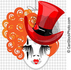 image of an eccentric dame in red hat