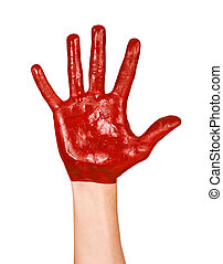 Image of an open human hand in red paint