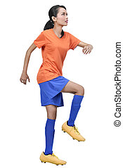 Image of asian female soccer player practicing