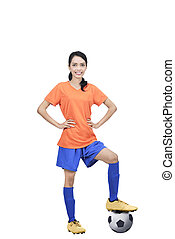 Image of asian football player with ball and hands on waist