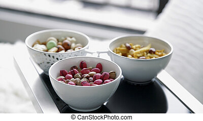 assorted beans on white bowl