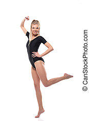 Image of attractive fitness girl posing in leotard