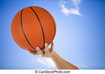 basketball on the hand