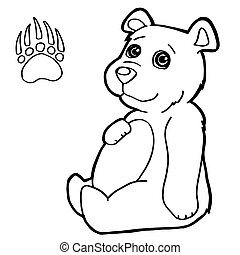 bear with paw print Coloring Pages