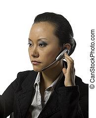 beautiful female phone operator