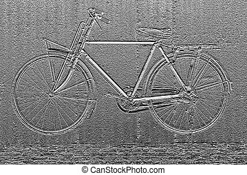 Image of bicycle abstract background, by bas relief filter