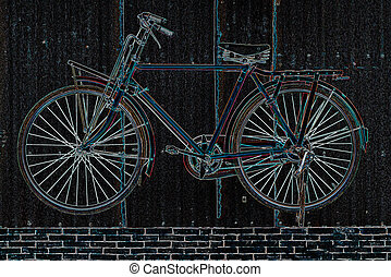 Image of bicycle, abstract background, by glowing edge filter