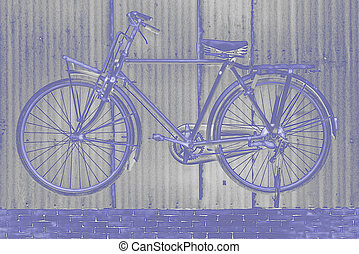 Image of bicycle abstract background, by neon glow filter