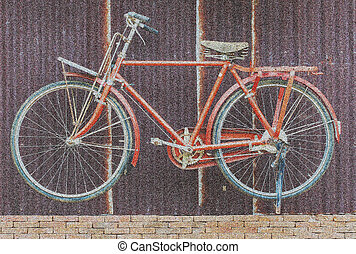 Image of bicycle abstract, mezzotint