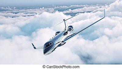 Image of black luxury generic design private jet flying in ...