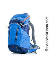Image of blue backpack on white background - Image of blue...