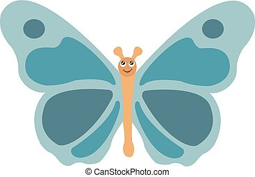 Image of blue butterfly, vector or color illustration.