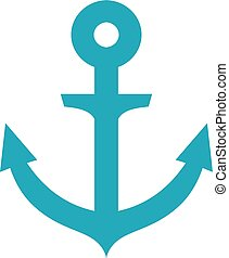 Image of blue flat anchor isolated on white background.