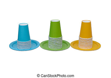 blue, green and yellow paper cups with plates isolated on white background