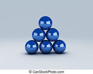 blue spheres in equilibrium