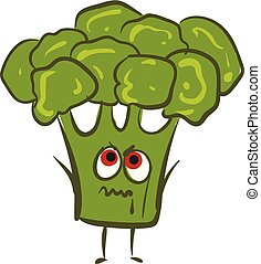 Image of broccoli angry, vector or color illustration. -...