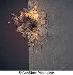 Image of broken concrete wall