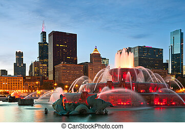 Image of Buckingham Fountain in Grant Park, Chicago, Illinois, USA.