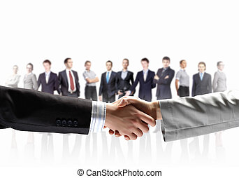 image of business handshake - business handshake against...