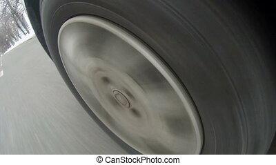 Image of car wheel, close-up