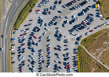 cars in the parking lot, top view from drone