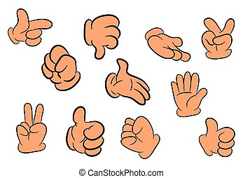 Image of cartoon human gloves hand gesture set. Vector illustration isolated on white background.