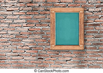 Image of chalkboard on brick wall texture, background for design with copy space for text or image.