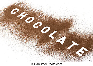chocolate powder - Image of chocolate powder against white...