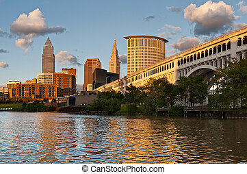 Image of Cleveland downtown during sunset.
